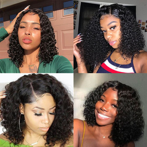 Deep Curly 360 Lace Front Human Hair Wigs 250 Density 13x6 Lace Frontal Wig Brazilian Short Bob Lace wig Full Ends