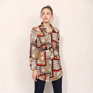 Blusen Sommer-die losen Knopf gedruckt Revers Hals Shirts Langarm-Dame-Partei-Straßenkleidung Bowknot Strickjacke Frauen