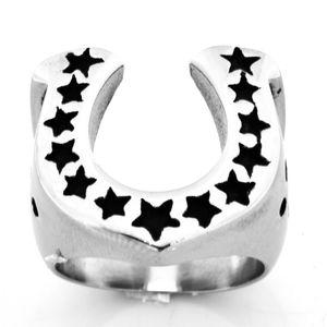 FANSSTEEL ACCIAIO INOSSIDABILE uomo o donna U Shape Journey Star Lucky Horseshoe Medallion Ring GIFT FSR07W65