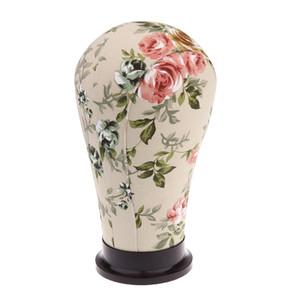 21 '' Cork lienzo Cabeza del bloque, Maniquí Cabeza, peluca fabricación de sombreros Auricular Pantalla Styling cabeza con orificio de montaje