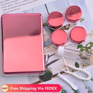 2020 Chegada Nova portáteis Contact Lens Caso Mulheres Titular Lentes cílios caixa de armazenamento Make Up Tools 2 pares Container Para lente de contato