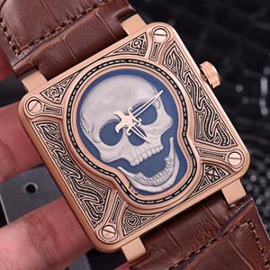 Alta qualityTop Marca de Luxo SINO Riso Crânio ROSS Edição Limitada Casuais Homens de Silicone Relógios Relógio Automático Relógio Relogio masculino