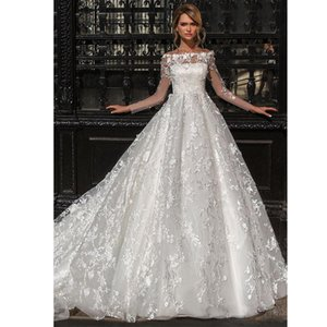Design Charming Wedding Dresses With Sleeves Delicate Lace Applique Bateau Neck Sweep Train Wedding Dress Bridal Gowns