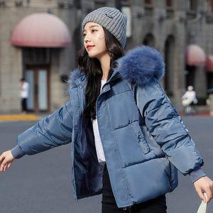Cotton Jacket Women 2020 Thicken Short Cotton Padded Winter Coat Women Hooded Fur Collar Parka Femme Warm Winter Jackets C6558