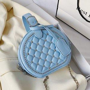 Circular Stickgarn Nieten Design Frauen-Handtaschen-Art und Weise PU-Frauen-Schulter-Kurier-Stadtstreicherin-Geldbeutel-Runde Crossbodybag