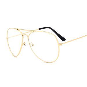 Gafas de sol con montura dorada de aviación clásicas femeninas, lentes transparentes, lentes transparentes, ópticas, gafas de sol, estilo piloto