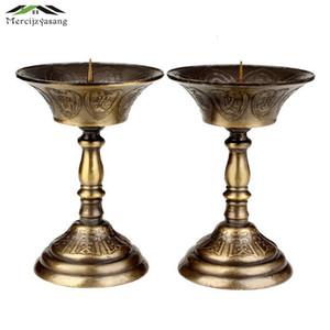 I titolari Retro candela 2PCS / LOT metallo votiva Candeliere Lotus per il quotidiano Pregate Holder Buddha Candelabri Butter Lamp buddista GZT019 SH190924