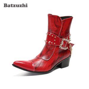 Batzuzhi Western Cowboy Boots Punk Genuine Leather Ankle Boots for Men's Party and Wedding Red Punk Botas Hombre,Big Sizes US12