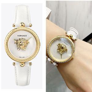 Nuovo arrivo White Girl di cuoio di lusso da donna Orologi PALAZZO Serise modo dell'orologio del quarzo della vigilanza della signora femminile Relógio signore montre