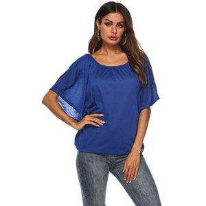 Mujeres Sexy Camisetas Casual Color sólido ahuecado hacia fuera Batwings Mangas Tops Mujer verano suelta Fit suéter fino
