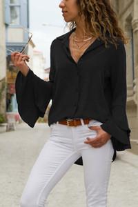 OCQBI 야생 간단한 나비 슬리브 여성 여름 화이트 쉬폰 블라우스 V 넥 솔리드 버튼 셔츠 프릴이 여성스러운 블라우스를 여자