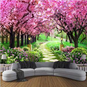 Özel 3D Fotoğraf Kağıdı Çiçek Romantik Kiraz Çiçeği Ağacı Küçük Yol Oturma Odası Yatak Odası De Parede Için Duvar resmi Duvar Kağıd ...