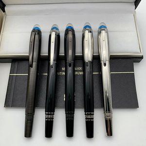 Luxe stylo MB Marque Roller Ball Stylo bille avec Unique Blue Crystal Top Design Bureau d'affaires Papeterie Stylos cadeau avec numéro de série 01