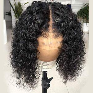 Transparente hd rendas 13x6 Lace frontal Perucas Pré arrancou completa 360 frontal Wig curto encaracolado Bob Wigs