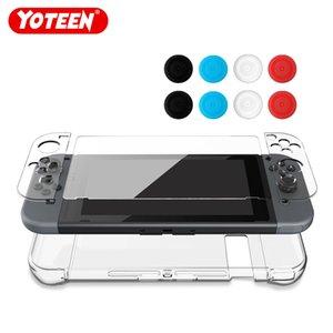 Yoteen 12 인치 1 인치 슬림 크리스탈 투명 케이스 Nintendo Switch 용 강화 유리 스크린 보호기 및 엄지 Stick Caps