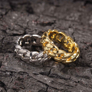 18K Gold Plated Cuban Link Rings Hiphop Wedding Party Jewerly Full Iced Out Cubic Zirconia Fashion Ring For Men Women