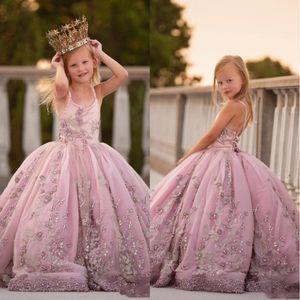 2020 Prenses Spagetti Askı Aplikler Boncuklu Kız Yarışması Doğum Elbiseler Geri İnciler Uzun Balo Çiçek Kız Elbise Dantel-up