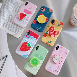 Casos Titular anel de dedo de Verão bonito para iphone XR X XS Max 6 6S 7 8 Plus bonito doce cor suave Simples Moda Telefone Caso NOVO