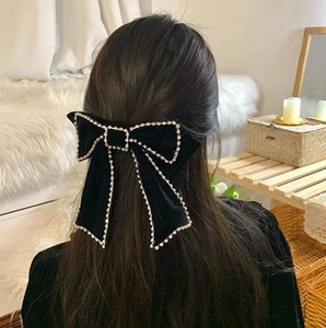 2020 New Designer Velvet Big Bowknot Hair Clips Fashion With Rhinestones Bling Bling Spring Clip Hair Jewelry Hot sales