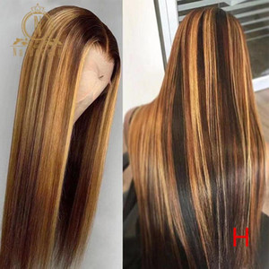 Dentelle transparente frontale Human Hair Perruques Brown Might Highlight Perruque PRINE PRECKED HONELLE BLONDE OMBRE Couleur 180 Densité Remy Cheveux Nabeauy