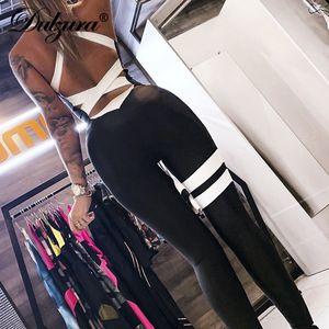 Dulzura летние женщины комбинезон выдалбливают лоскутное спинки комбинезоны уличная фестиваль плюс размер sprotswear фитнес леггинсы