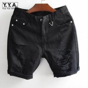 Brand Vintage Mens Summer Denim Shorts Black White Classic Pantalones Big Hole Shorts de algodón Hasta la rodilla Jeans Envío gratis