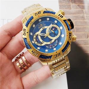 Relógio dos homens ocasional calendário esportivo INVICTA relógio de quartzo cinta de aço de carvalho real todas as funções podem ser operadas