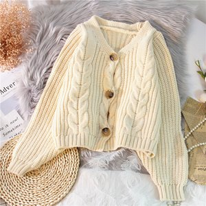 Women's Sweaters Cardigan New 2020 Spring Knitted Twist Casual Sweater Autumn V-neck Single-breasted Long Sleeve Short Coat Tops