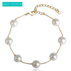 MECHOSEN Elegant Simulated Pearl Bracelets Adjustable Length For Women Charm Gift Party Dress Fine Jewelry Pulseiras riverdale