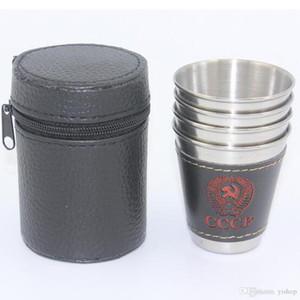 Lot4pcs 70ml de aço inoxidável Tumbler Copos Copos Copos Com 1 copo titular e 1 saco de vinho cerveja Whiskey canecas Outdoor portátil Travel Cup