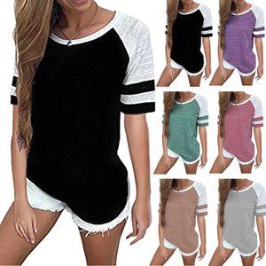 Femmes rayé Splicing Base-ball T-shirt à manches courtes O cou à manches longues T T Tous Assorti shirt de maternité Hauts-CCA11824 A 10pcs