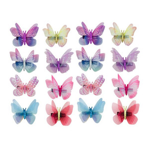 16 Pcs Bowknot Hair Clips Bow Tie Double Layer Dreamlike Simulation Tulle Butterfly Shaped Barrettes Hairpins For Girls Women