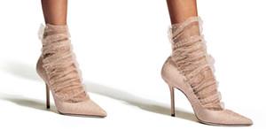 Balletto rosa pompa in pelle scamosciata con il balletto Pink and Gold Glitter Tulle Overlay tacchi alti chaussures Scarpe scarpe jimmy choo regina donne 10 centimetri 6964 #