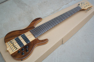 New Factory Custom 6 strings Neck-thru-body Electric Bass Guitar with Active Circuit,2 pickups,Golden Hardware,offer customize