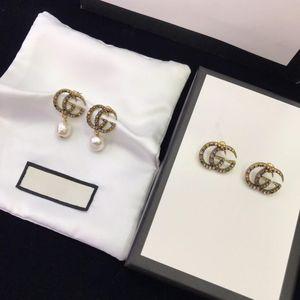 personalidad de la moda europea y americana carta llena de diamantes joyería de las mujeres diseñador G pendientes pendientes de diseñadores de lujo