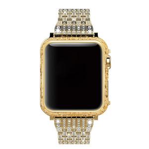 luxo cnc gravado caso padrão de flor de ouro com diamante banda de aço inoxidável para apple watch series 3 2 1 38mm 42mm