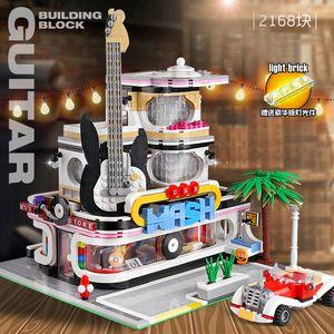 MouldKing 16002 2168pcs MOC Stadt Gitarren-Geschäft mit LED-Licht Straßen Serie Assembly Building Blocks Bricks Spielzeug Geschenke