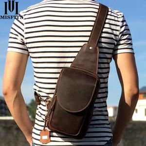 MISFITS 2020 nouveau sac véritable messager en cuir pour hommes occasionnels poitrine sacs sac bandoulière luxe épaule pour les hommes de peau de vache