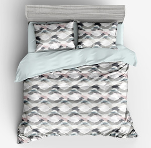 Wavy stripes Microfiber Fabric Bedding Sets Geometry Flat Bed Sheet Duvet Cover Pillowcase