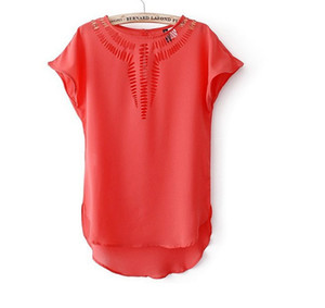 Mode T femmes shirt casual tops fashion T-shirts Chemisier T-shirt vente chaude en mousseline de soie robe vêtements d'été de gravure laser creux