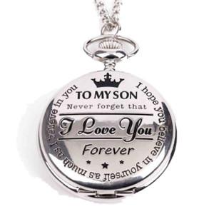 Relojes de regalo del día de los niños al por mayor a mi hijo Te amo patrón negro plata grandes relojes de bolsillo reloj de cuarzo nacklace