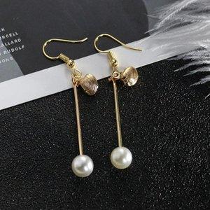 Роскошные Перл Shell Eardrop Серьги Мода Золотая Рыбка Ушной Крючок Античная Мотаться Люстра Женщины Длинные Кулон Серьги