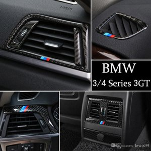 Carbon Fiber Car Center Console Air Outlet Air Conditioning Vent Decorative Cover Frame Stickers for BMW 3 4 Series 3GT F30 F31 F32 F34