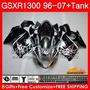 Kit Para SUZUKI Hayabusa preto prateado GSX-R1300 1996 1997 1998 2007 24HC.2 GSXR 1300 GSXR1300 96 97 98 99 00 01 02 03 04 05 06 07 Carenagens
