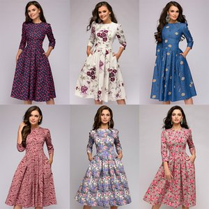 Capucines Navy Blue 3 4 Sleeves Printed Dress Women 2019 Spring Summer Vintage Pocket A-line Casual Dress Elegent Party Vestidos CX200701
