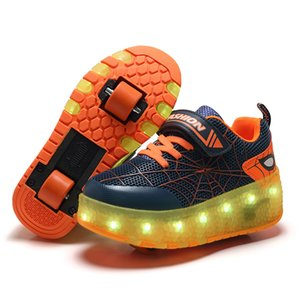PKSAQ LED niños zapatos del rodillo brillantes zapatillas de deporte luminosos luz USB, se conecta zapatos ruedas de patines para los niños rodillos de la muchacha del muchacho