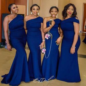 Elegante Royal Blue sexy una spalla lunghi abiti da sposa nigeriana Mermaid africana damigella d'onore abiti per matrimoni