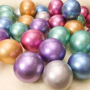 Perle en métal Ballons latex 10inch 1 lot 50pcs Bouquet décoration de mariage fête d'anniversaire métallique Ballons KKA7906