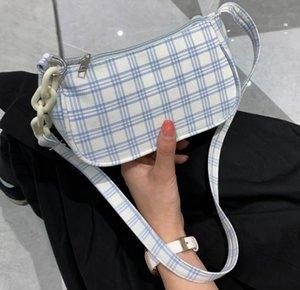 Ekose Bayan Çanta Koltukaltı Çanta 2020 Yeni Omuz Moda Basit Kadın Çanta Mizaç Casual Beyaz Çanta