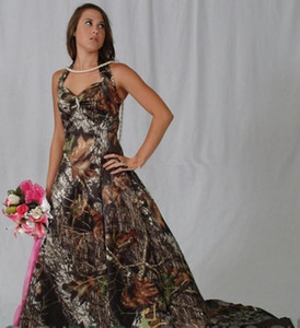 Camo Wedding Dresses Halter Neck Sleeveless Cheap Bride Party Wedding Bridal Gowns Long Sweep A Line Vestidos De Novia B66